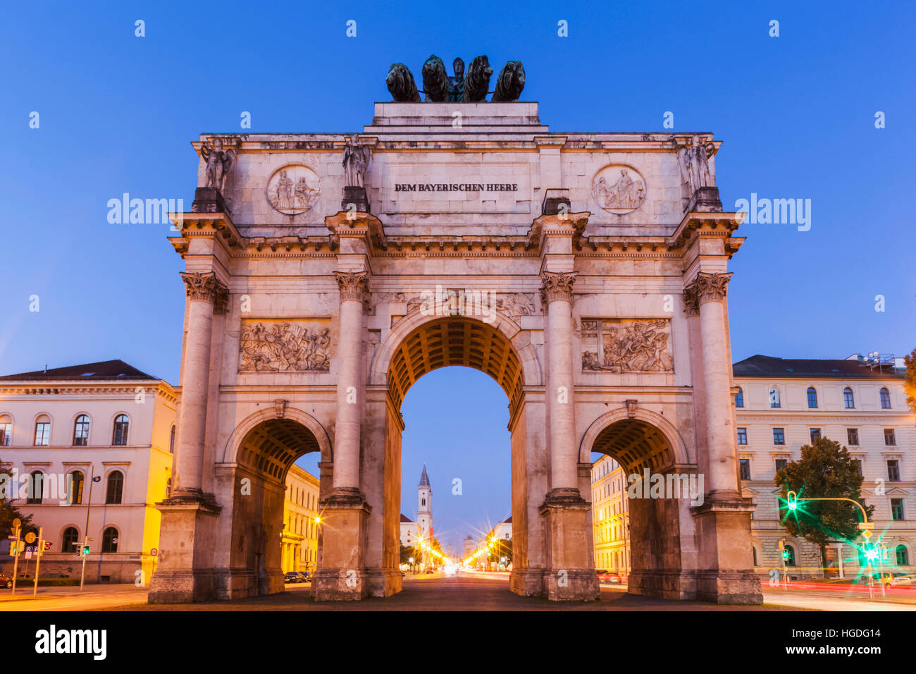 Germany, Bavaria, Munich, porte de la Victoire Photo Stock