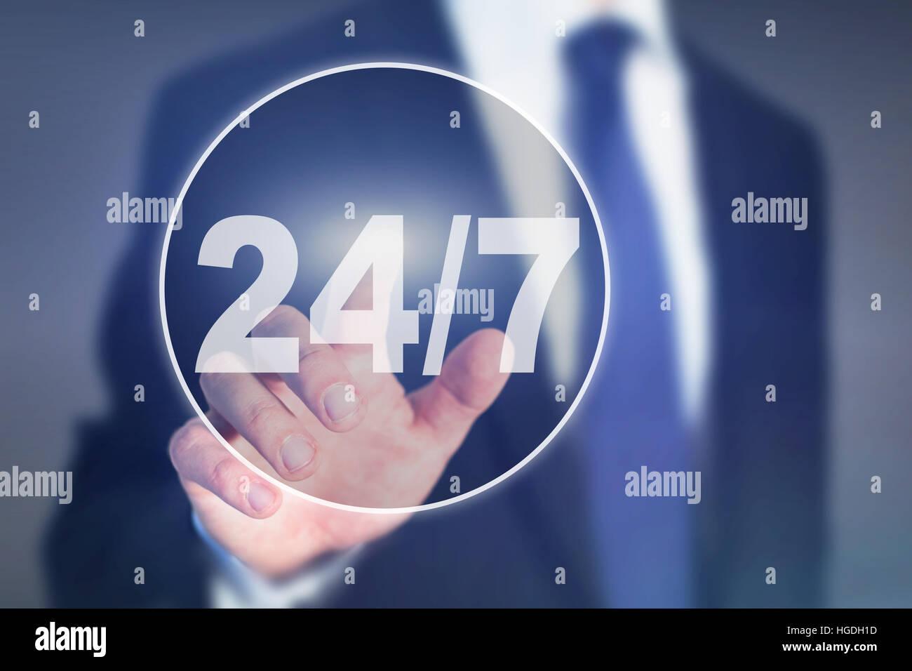 Concept de soutien non-stop, 24h/24 bouton Banque D'Images