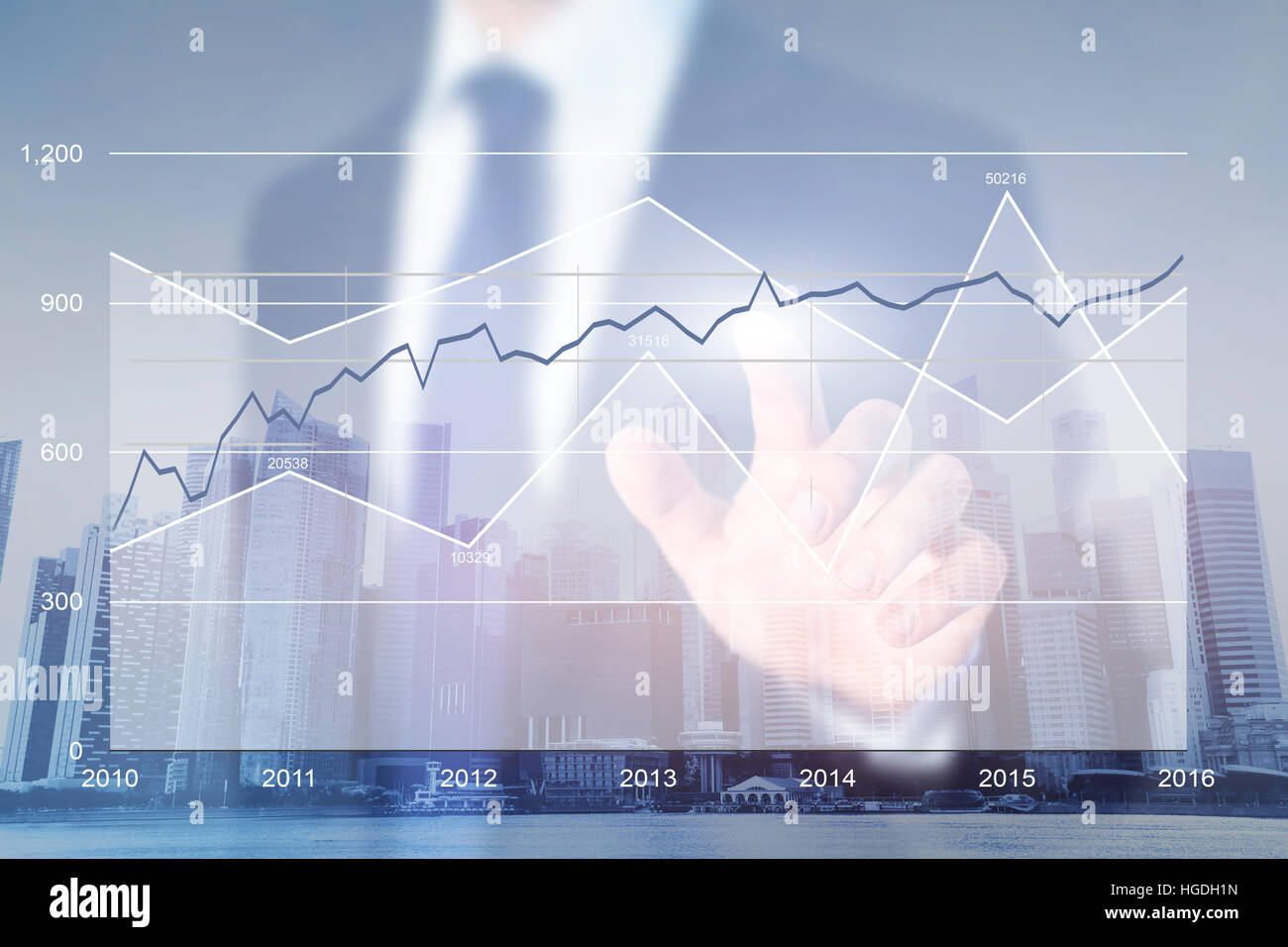 Business Strategy Analytics, tableaux financiers, high tech computer interface moderne Photo Stock