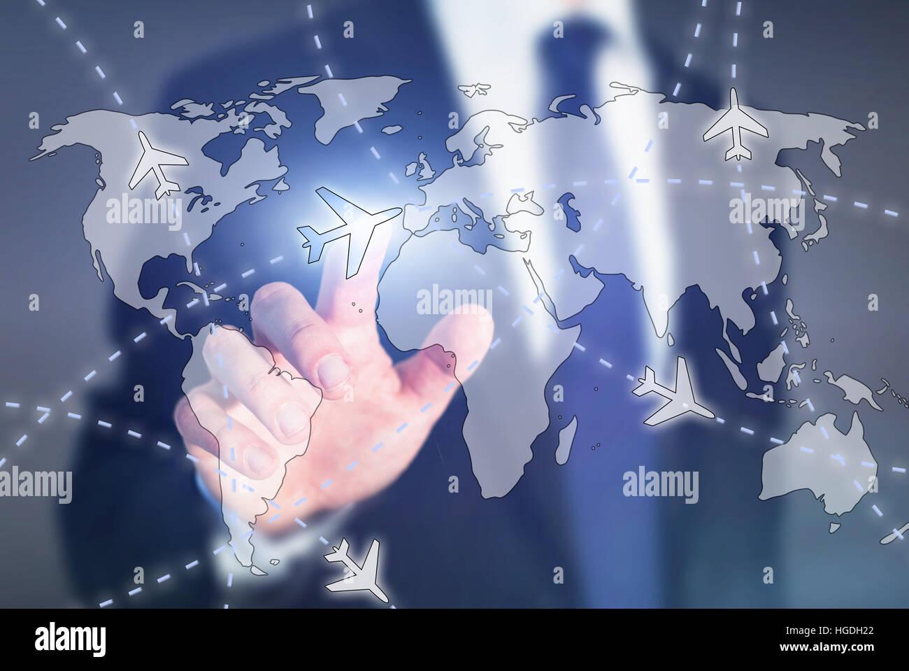Billets d'avion bon marché, choisissez la destination de voyage online concept, avion sur la carte du monde Photo Stock