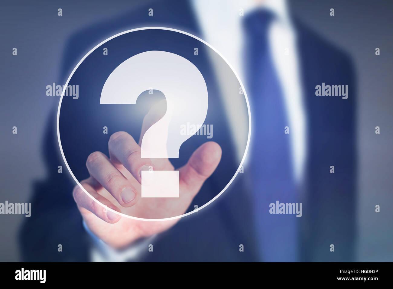 Point d'interrogation, l'aide d'affaires concept sur écran tactile Photo Stock