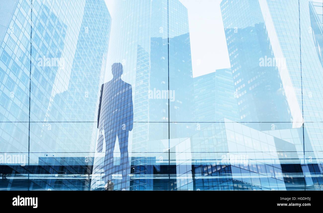 Businessman double exposition, possibilité de carrière ou la réussite de l'entreprise concept Banque D'Images