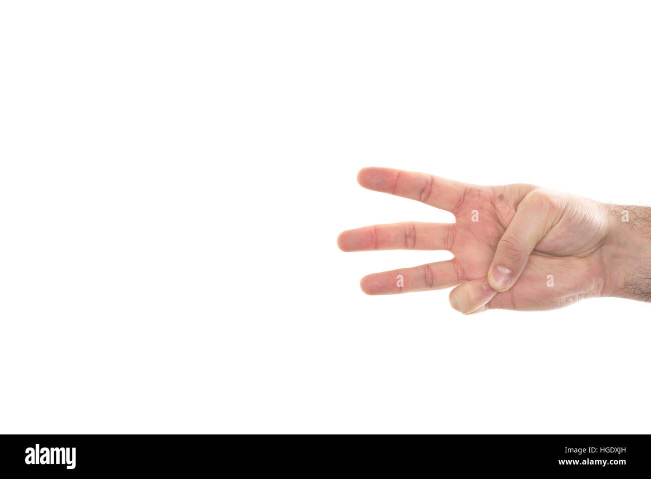 Part montrant trois doigts pour compter et indiquant les nombres. Photo Stock
