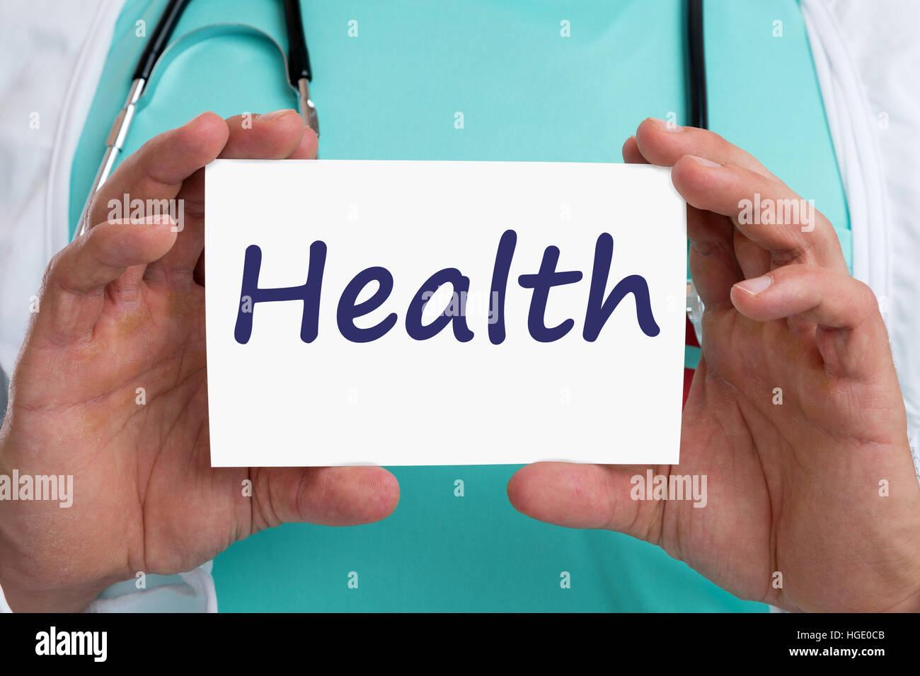Soins de santé Soins de santé maladie mauvais signe avec médecin en santé Banque D'Images