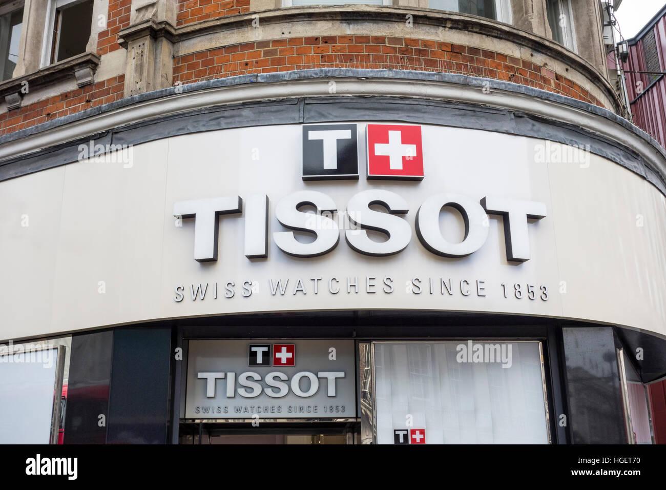 Boutique magasin détaillant Tissot signe sur Oxford Street, London, UK Photo Stock