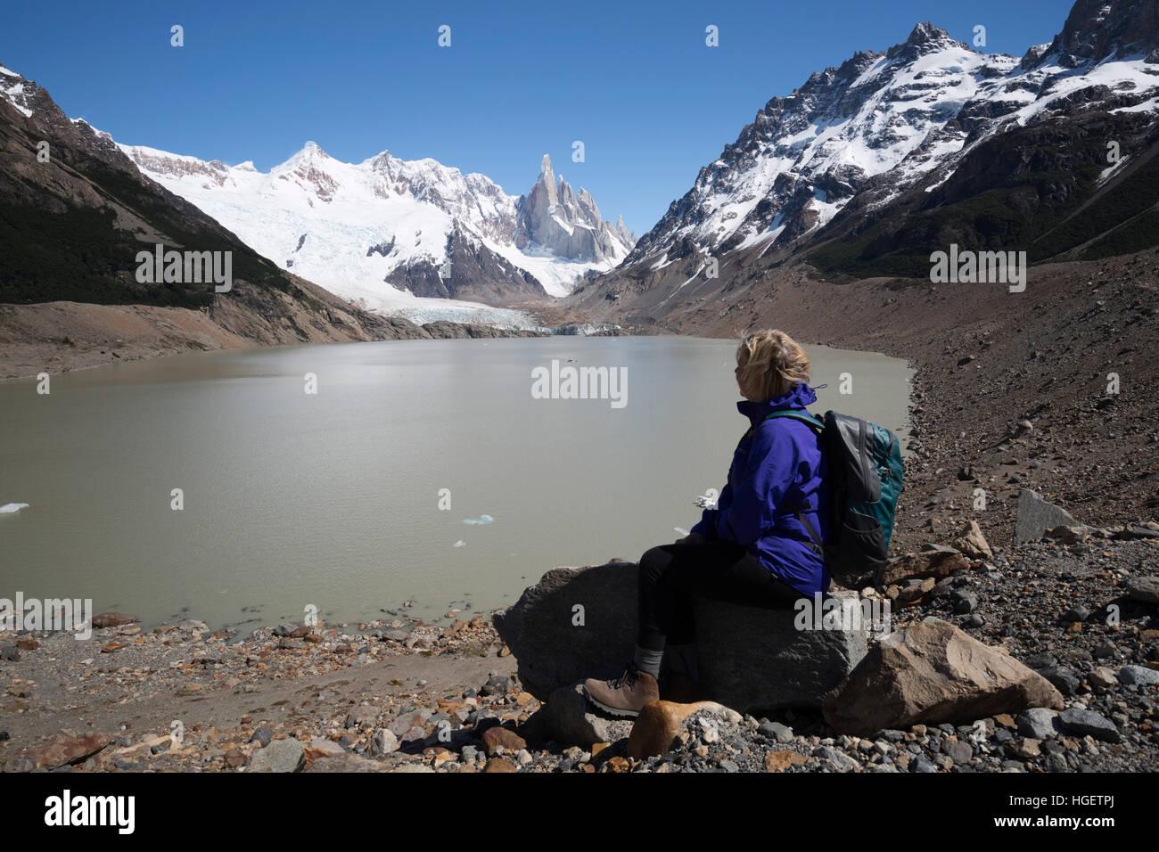 Laguna Torre avec vue sur le Cerro Torre, El Chalten, Patagonie, Argentine, Amérique du Sud Photo Stock