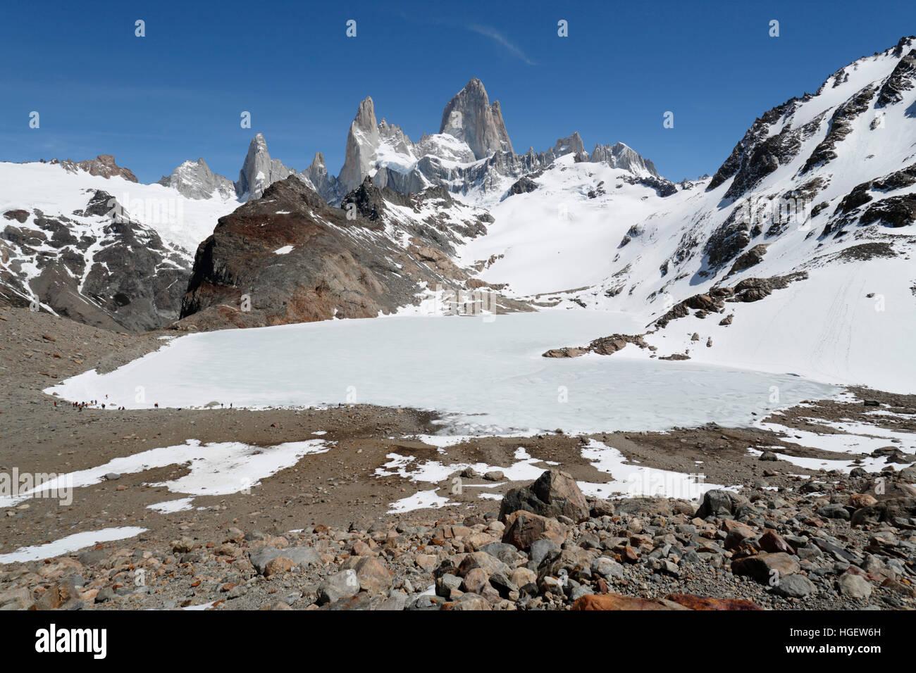 Laguna de los Tres et le Mont Fitz Roy, El Chalten, Patagonie, Argentine, Amérique du Sud Photo Stock