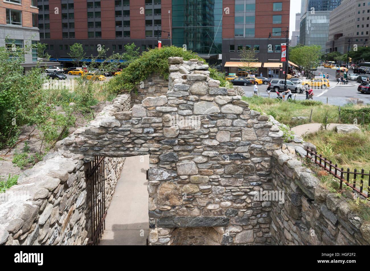 Mémorial de la faim irlandais sur Vesey Street, New York commémore la grande famine irlandaise. Photo Stock