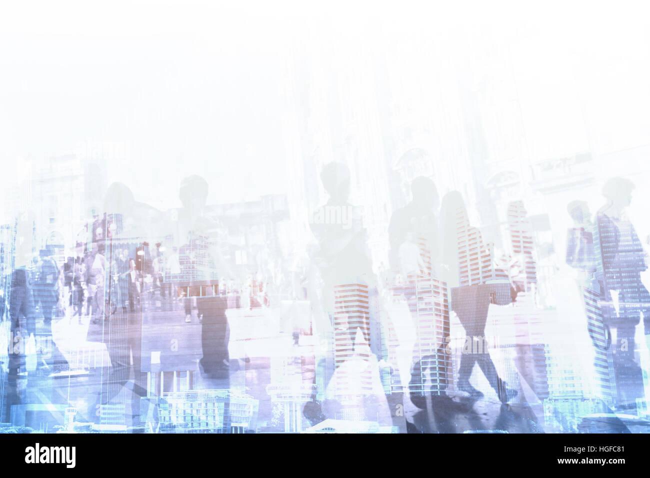 Affaires d'entreprise historique de l'entreprise, résumé les gens autour de immeubles de bureaux Photo Stock