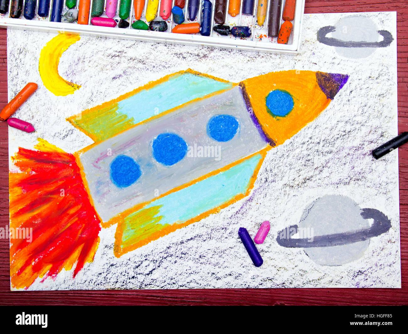 Dessin color fus e spatiale dans le cosmos banque d - Dessin colore ...
