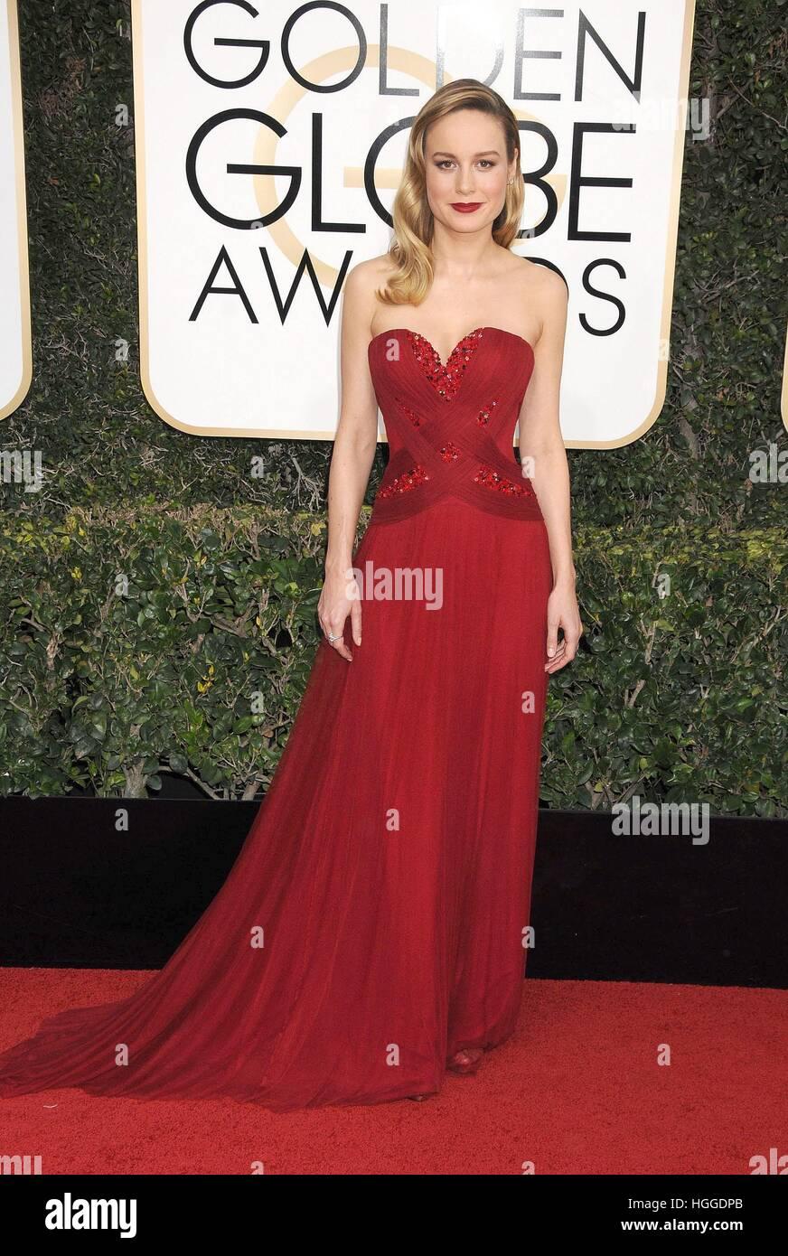 Los Angeles, CA. 8 janvier, 2017. Brie Larson au 74e congrès annuel des arrivées pour les Golden Globe Awards 2017 Banque D'Images