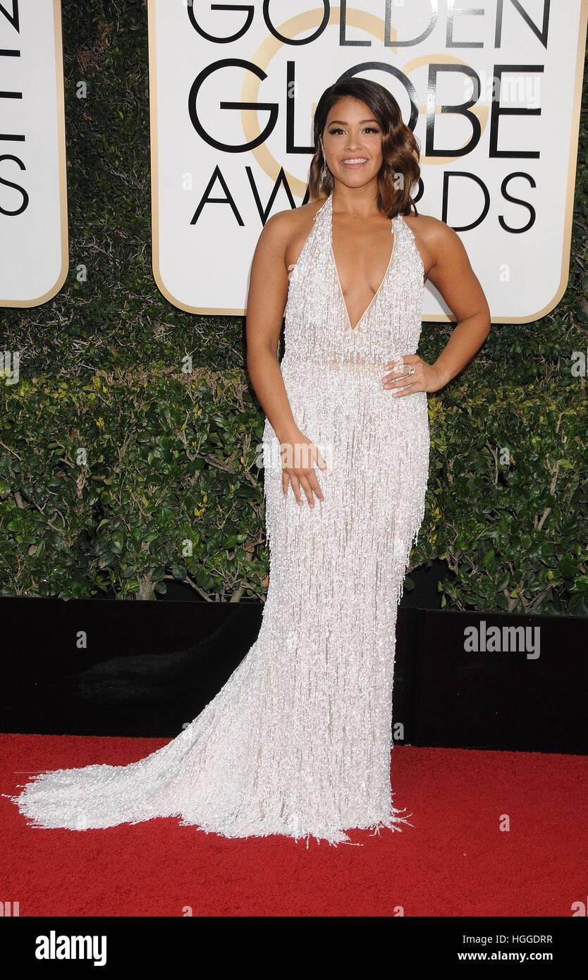 Los Angeles, CA. 8 janvier, 2017. Gina Rodriguez au 74e congrès annuel des arrivées pour les Golden Globe Awards Banque D'Images