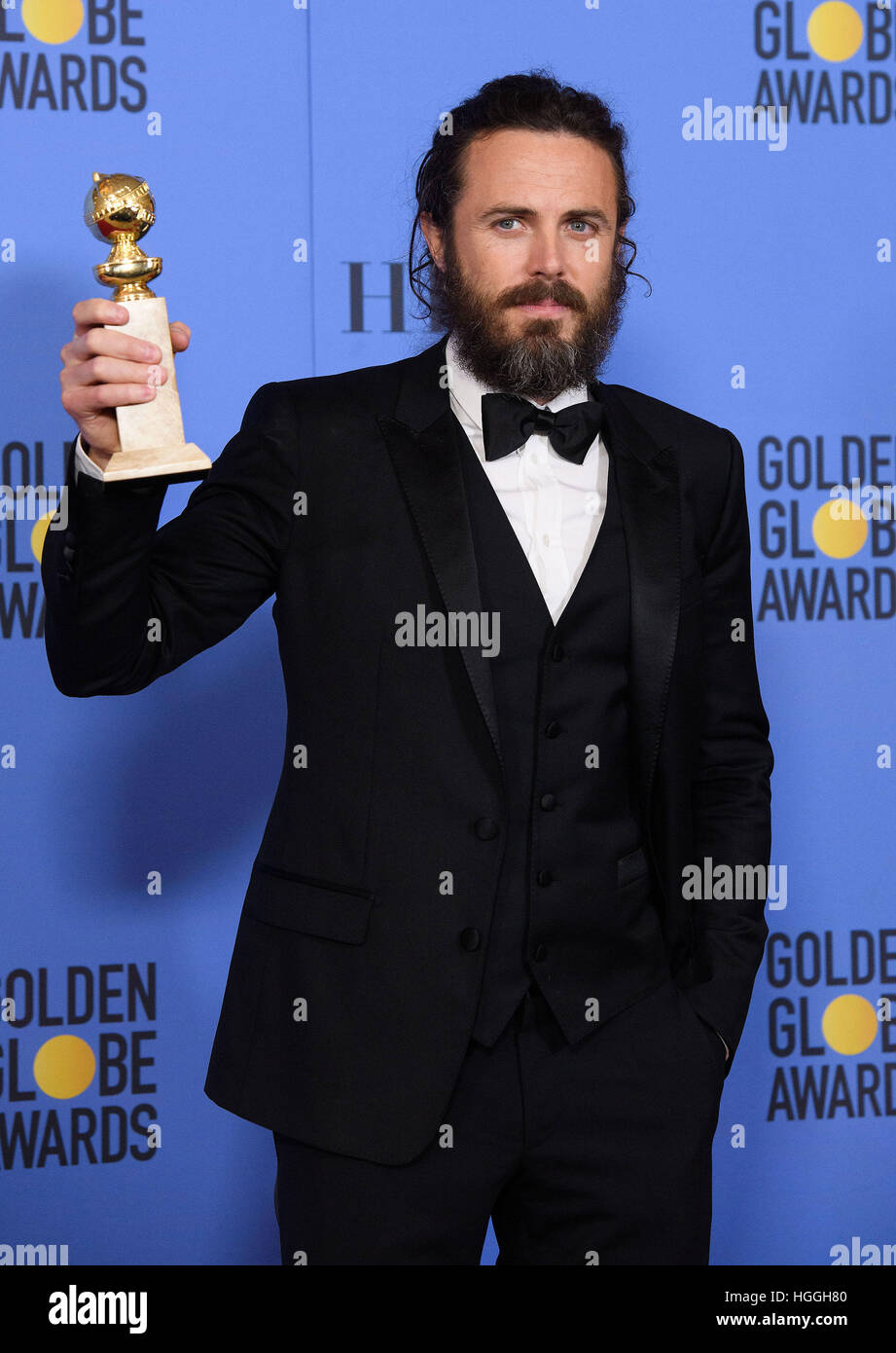 Beverly Hills, CA, USA. 8 janvier, 2017. Casey Affleck. 74e Golden Globes Awards annuel tenu à l'hôtel Photo Stock