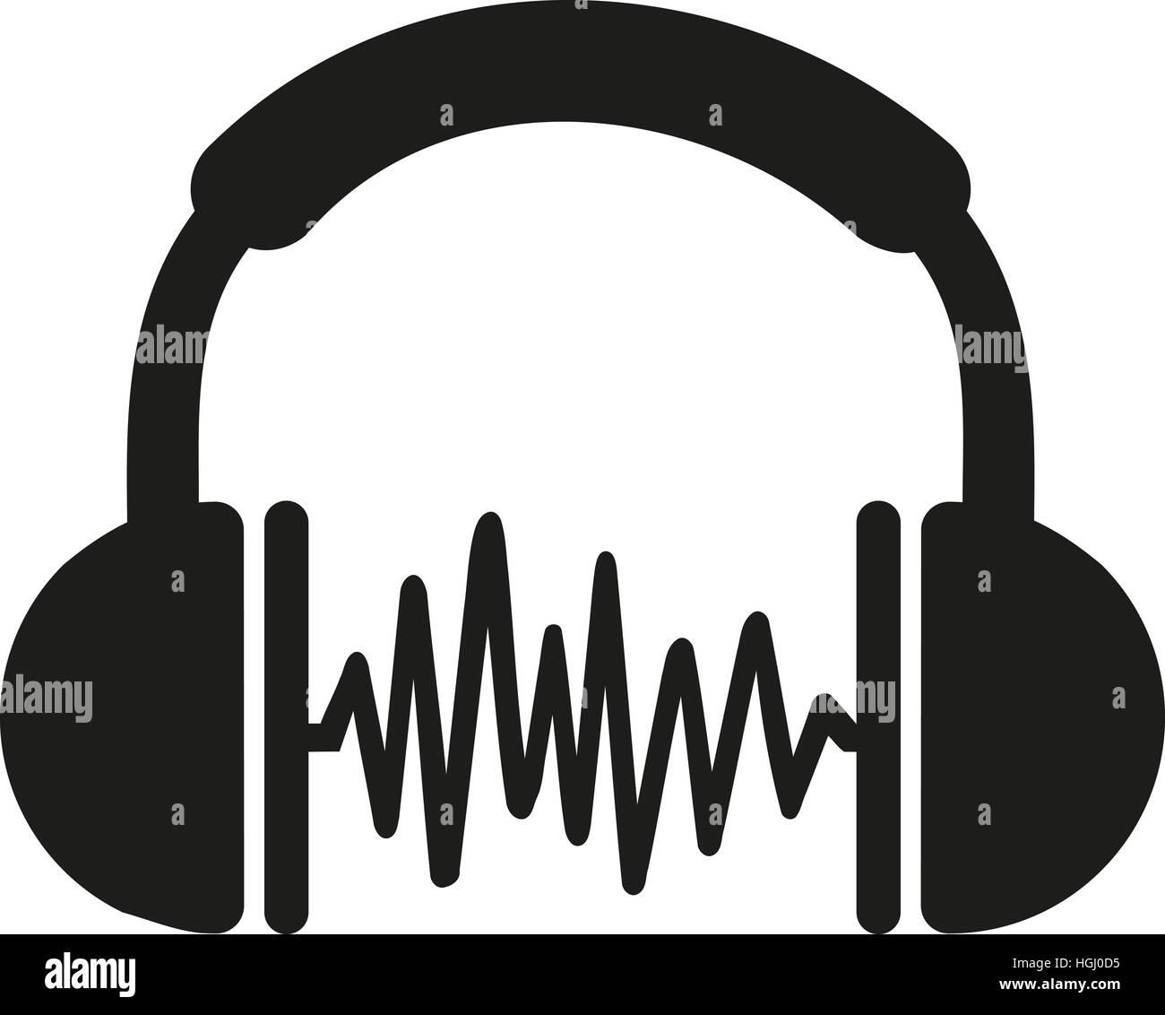 Casque avec des vagues de musique Photo Stock