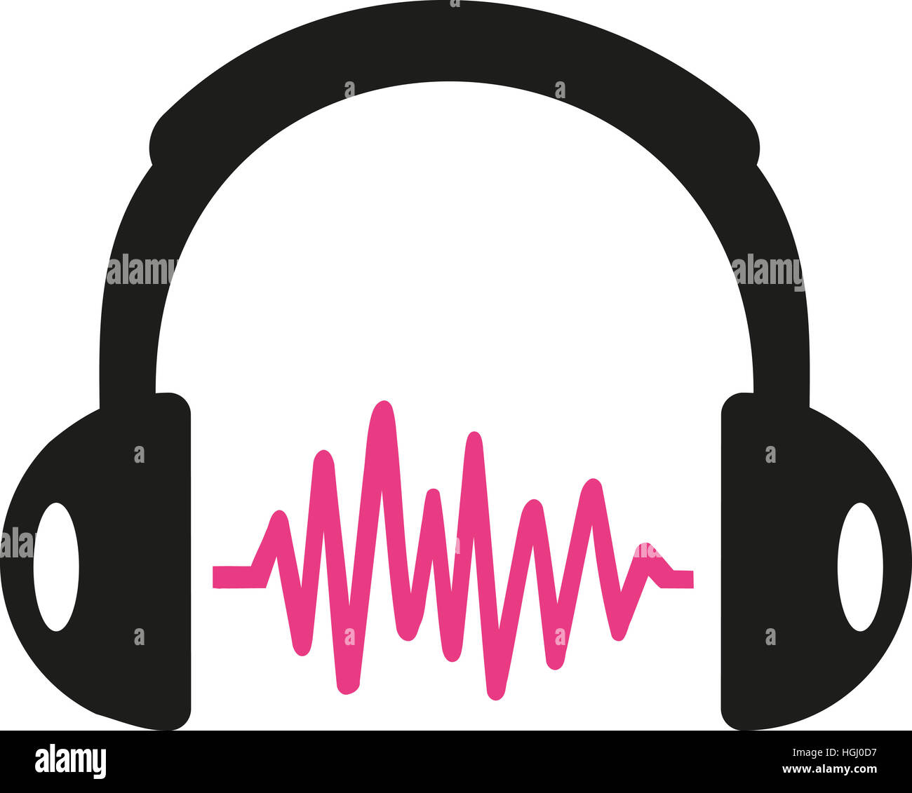 Avec l'onde sonore casque rose Photo Stock