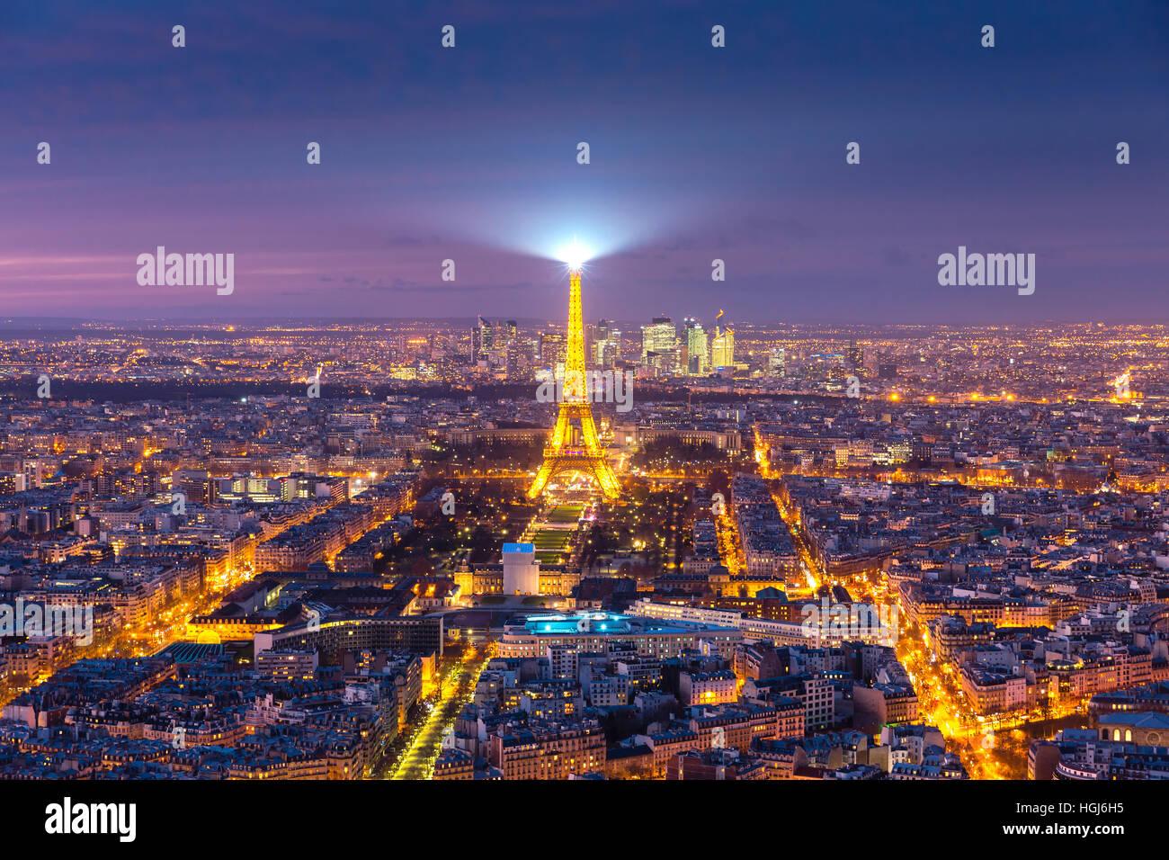 Vue aérienne de la Tour Eiffel à Paris, France Photo Stock