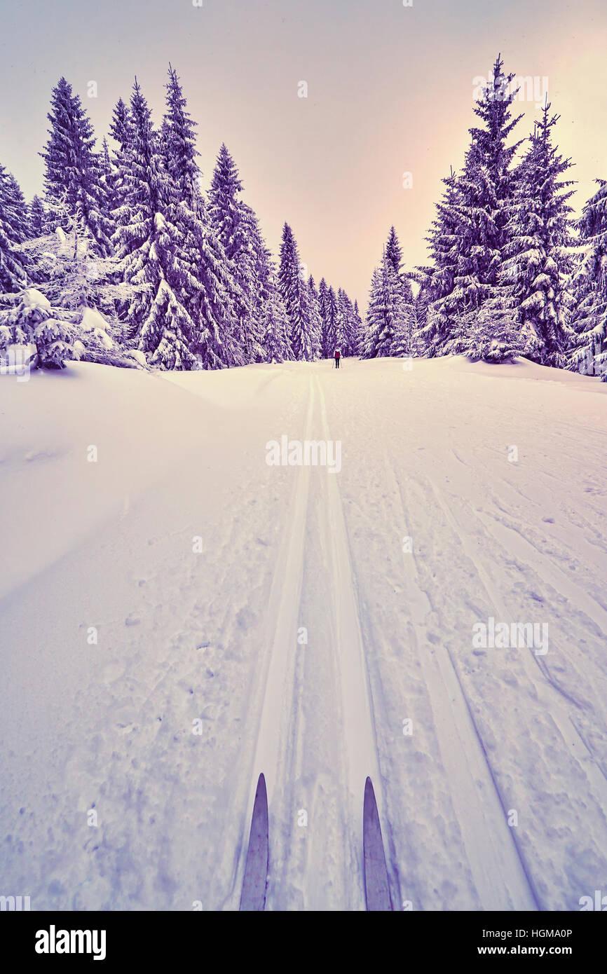 Retro photo stylisée de skis de fond sur les voies. Photo Stock
