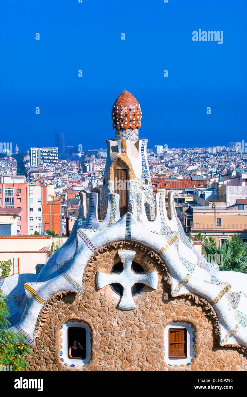 Le Parc Guell de Gaudi, Barcelone Photo Stock