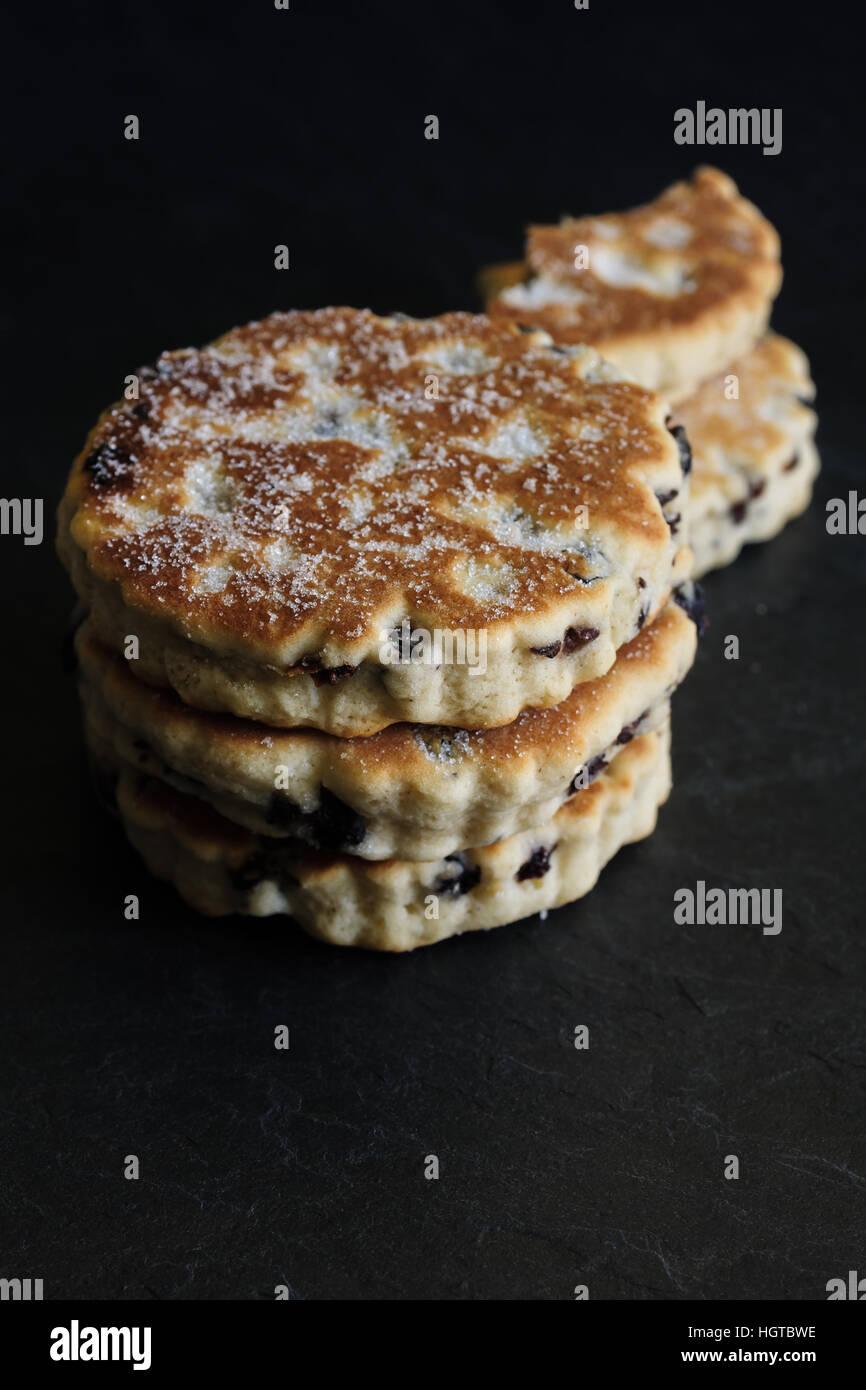 Gâteaux gallois une crêpière traditionnelle gâteau fait avec de la farine et les fruits secs Photo Stock