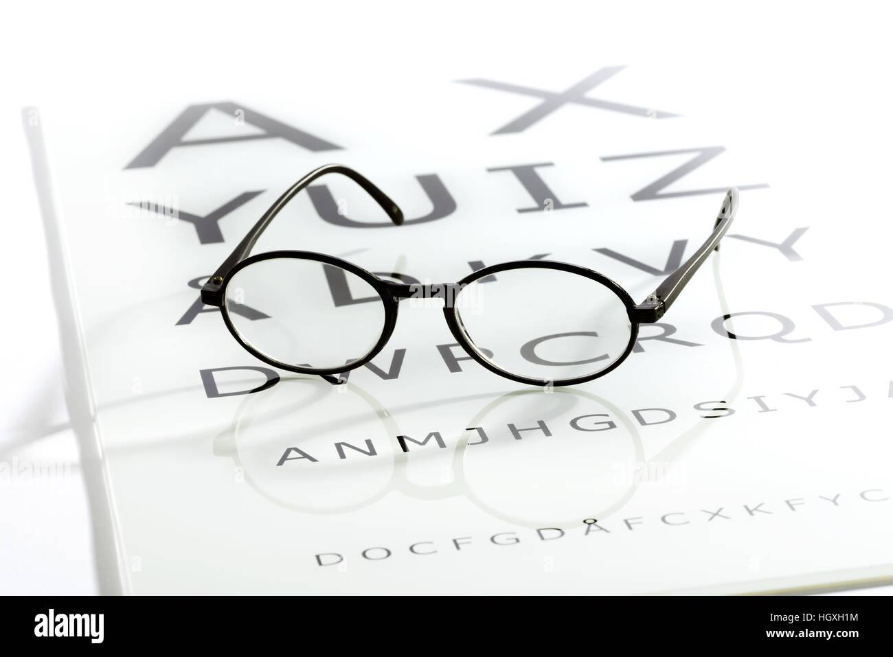 3824e4bc03 Lunettes ovales Noir portant sur l'oeil blanc brillant table des cartes,  test de