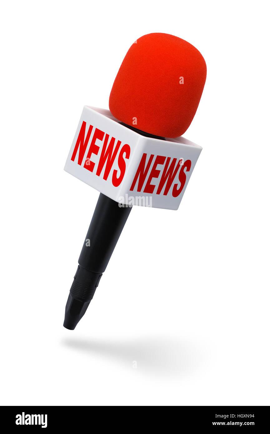 Microphone Actualités rouge et noir isolé sur fond blanc. Photo Stock