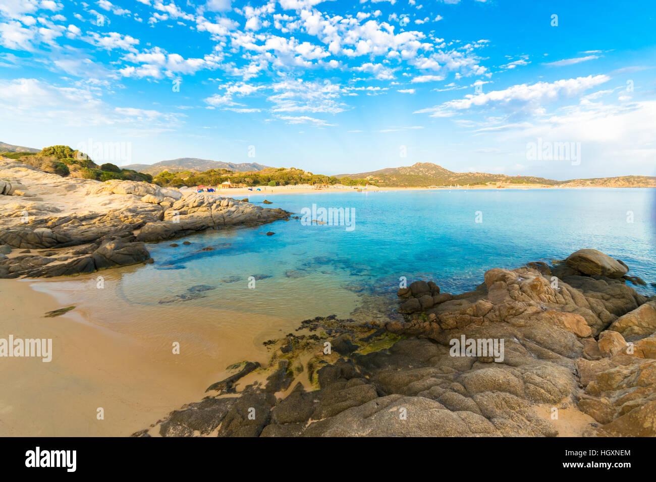 La mer et les plages de Chia, Sardaigne, île, Italie. Banque D'Images