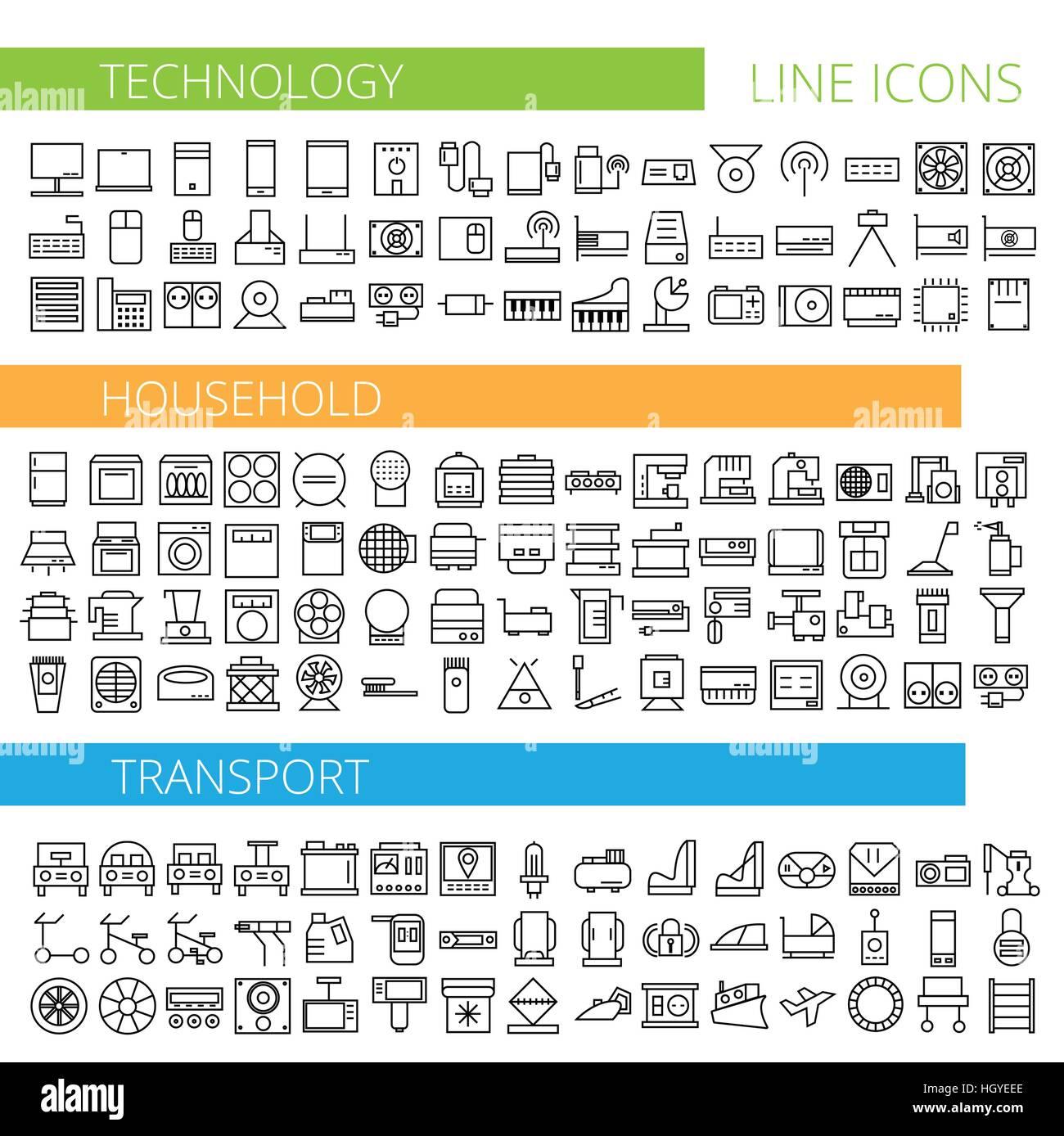 Illustration vecteur de ligne mince des icônes pour les ménages de la technologie et des transports - série des Illustration de Vecteur