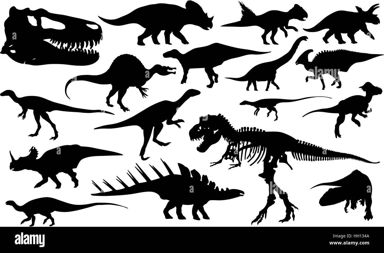 Jeu de dinosaures différents isolated Illustration de Vecteur