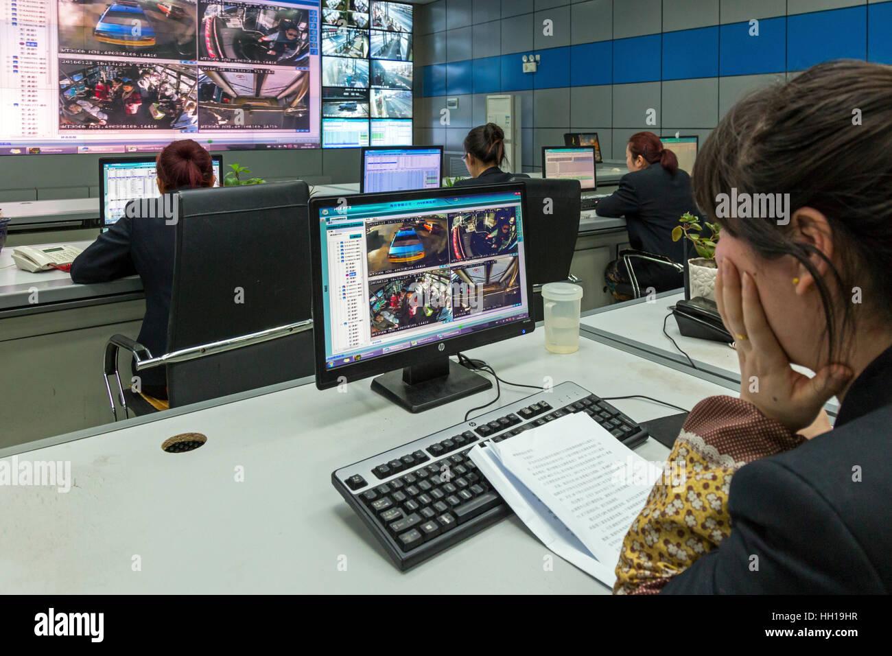 Salle de contrôle pour city bus company, Yinchuan, Ningxia, Chine Banque D'Images