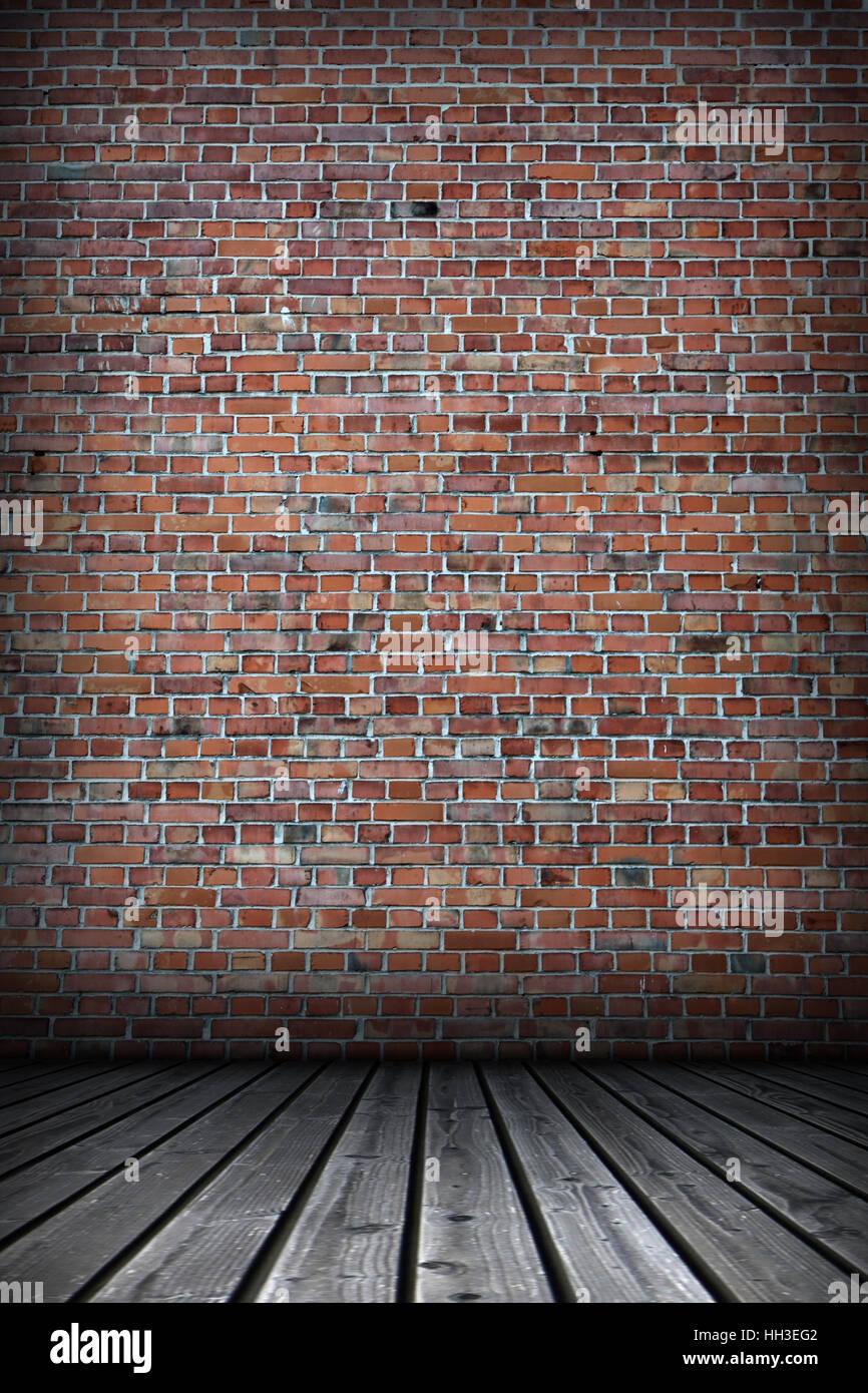 En bois bois fond mur brique briques chambre horizons Photo Stock