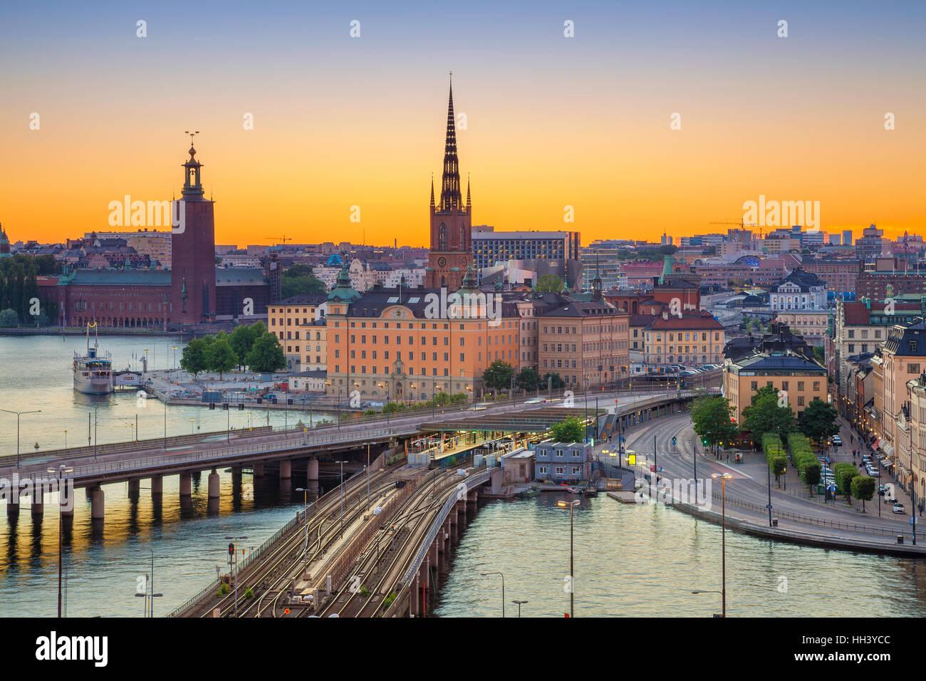 Stockholm. Cityscape image de Stockholm, Suède pendant le coucher du soleil. Photo Stock