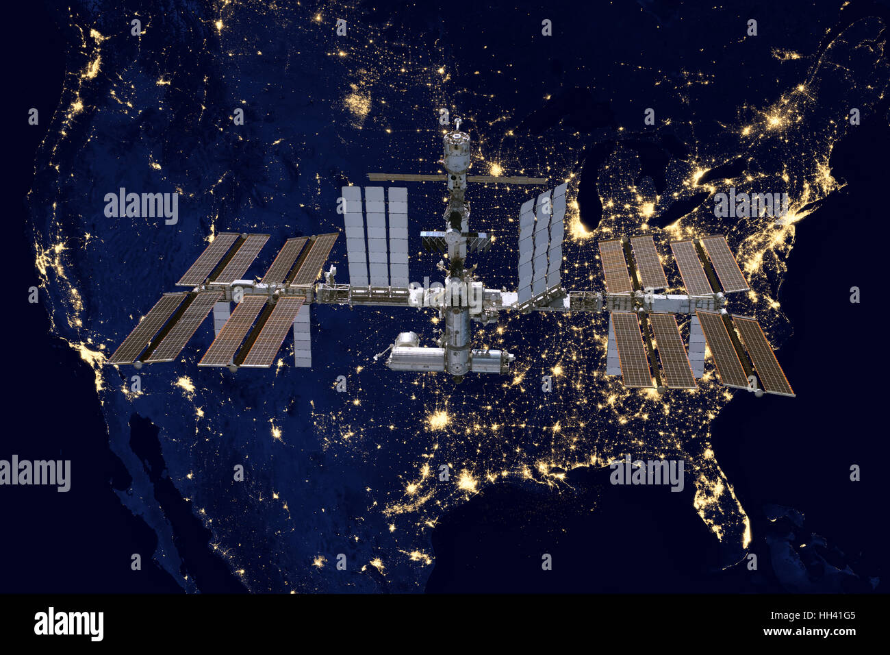 Station spatiale internationale plus USA. Photo Stock