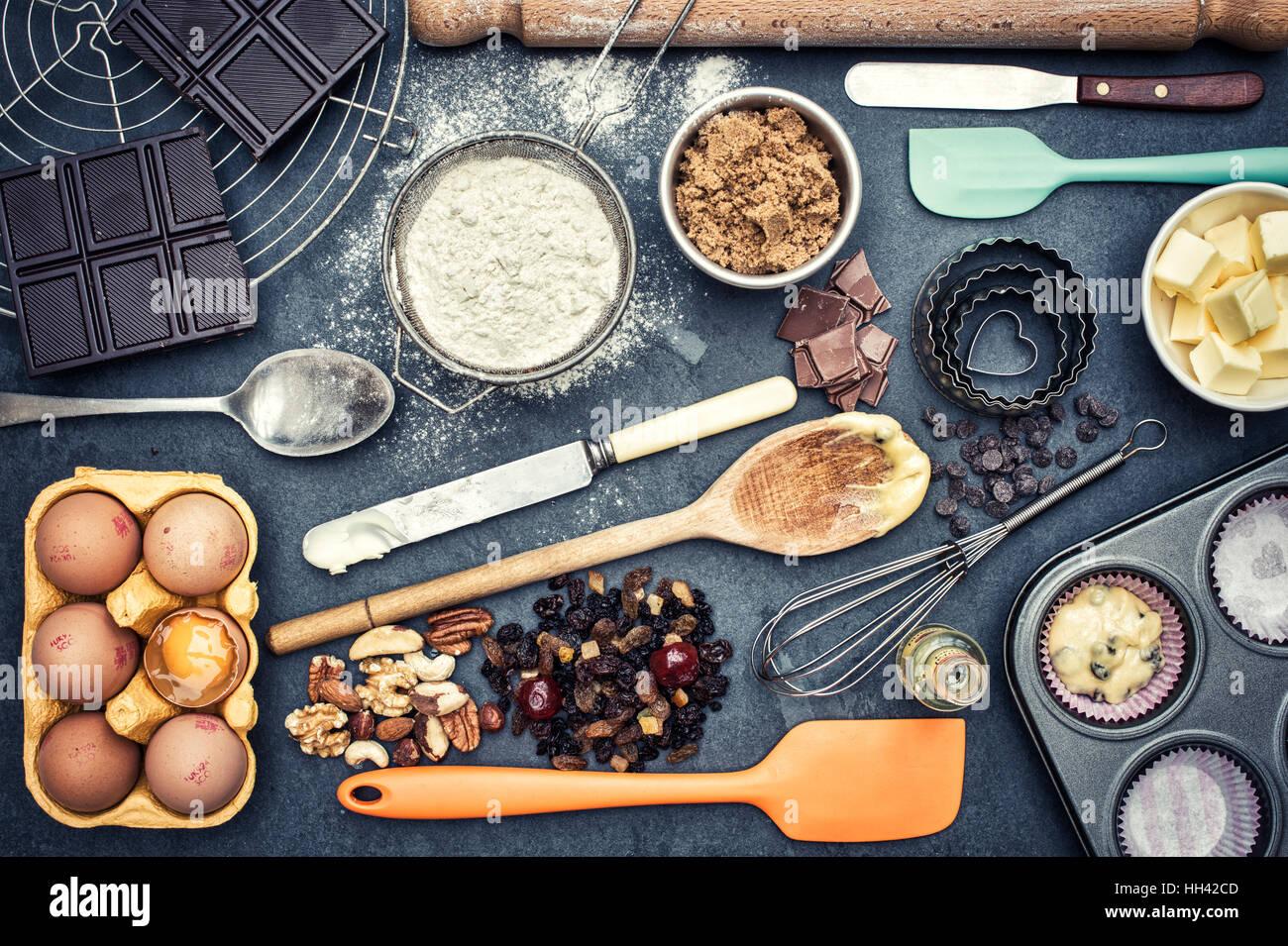 Ingrédients et ustensiles de cuisine à partir de ci dessus