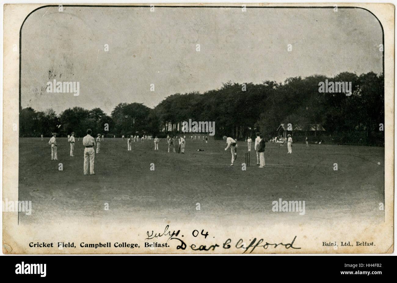 Sur le terrain de cricket, Campbell College de Belfast, en Irlande du Nord. Photo Stock