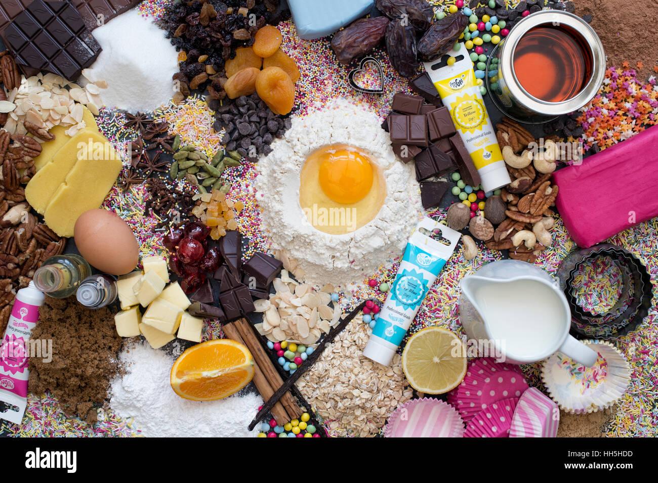 Ingrédients gâteau d'en haut Photo Stock