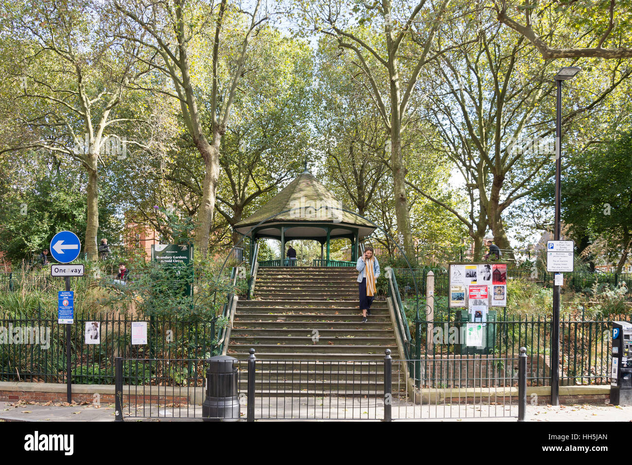 Jardins limitrophes, Arnold Circus, Shoreditch, London Borough of Hackney, Greater London, Angleterre, Royaume-Uni Photo Stock