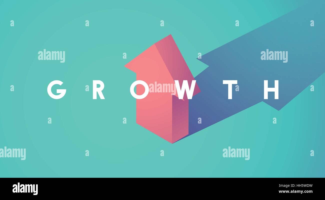 Amélioration de la croissance Augmenter l'icône de flèche Photo Stock