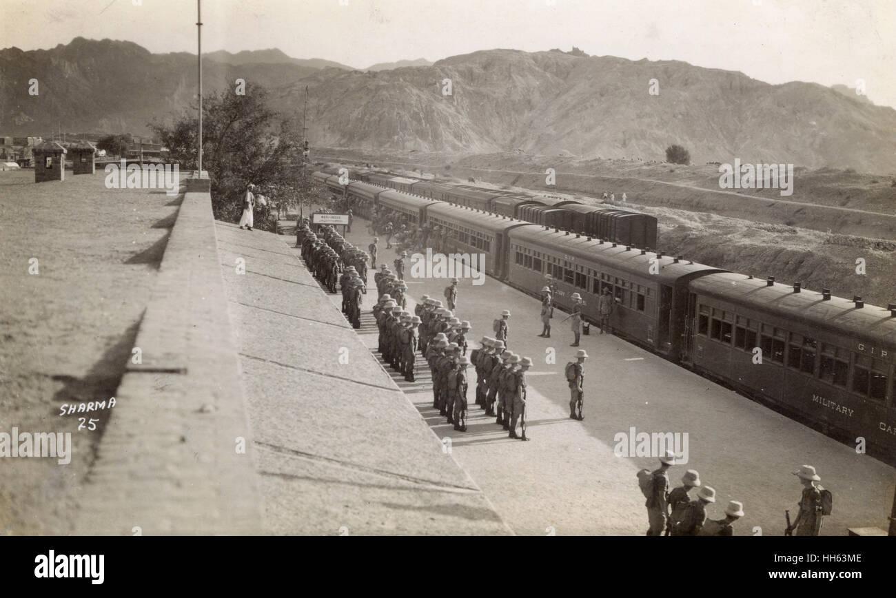 La gare ferroviaire de l'Indus Mari, North West Frontier Province (alors dans l'Inde britannique, actuellement Photo Stock