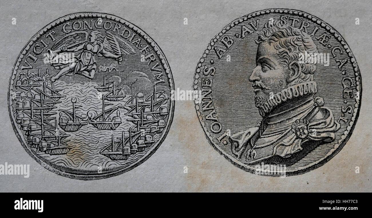 Bataille de Lépante. 7 octobre 1571. Flotte de la flotte de l'Leagueand Sainte pouf Photo Stock