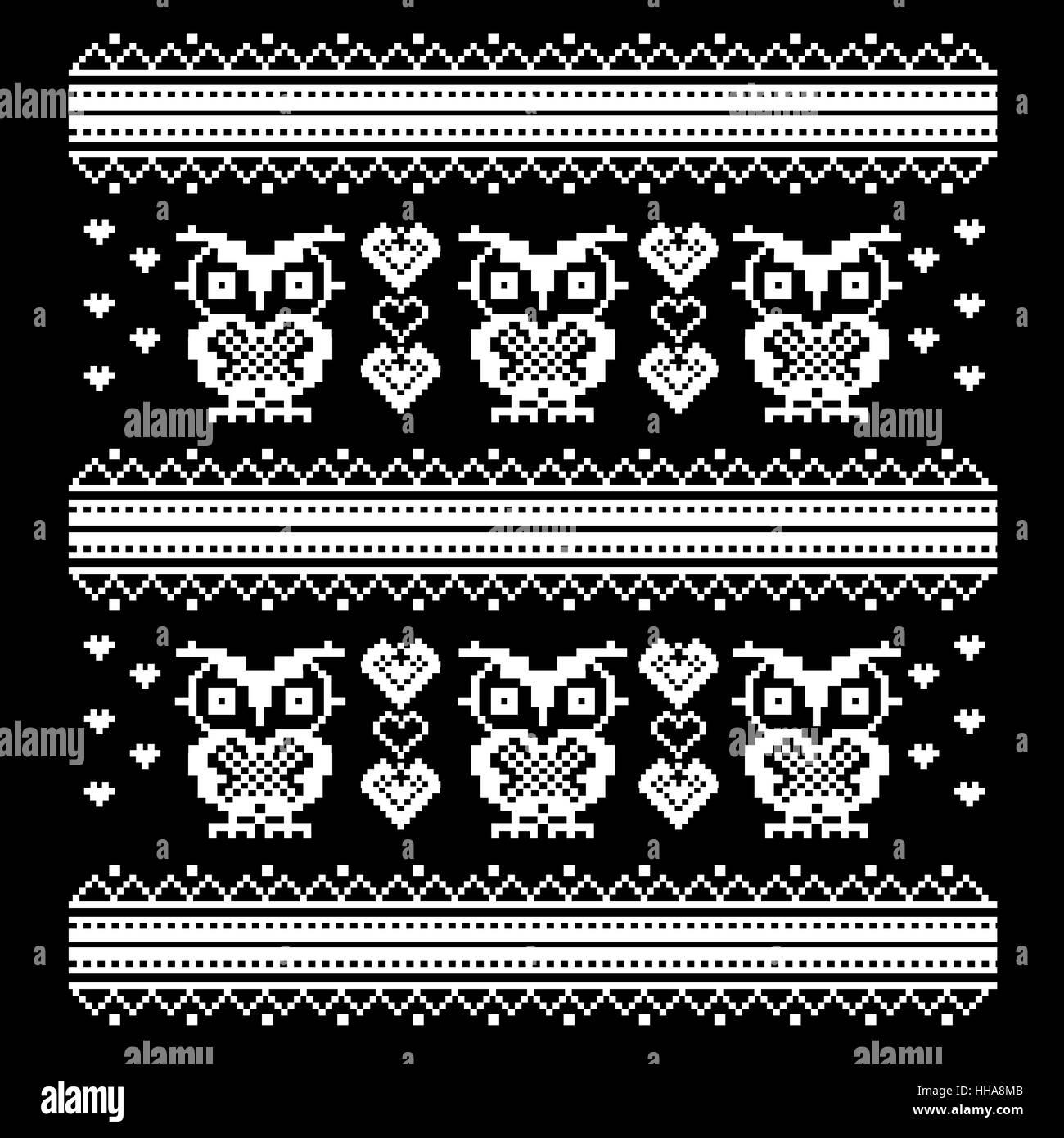 Ornement Avec Owl Et Coeur Oiseaux Pixel Art Modèle