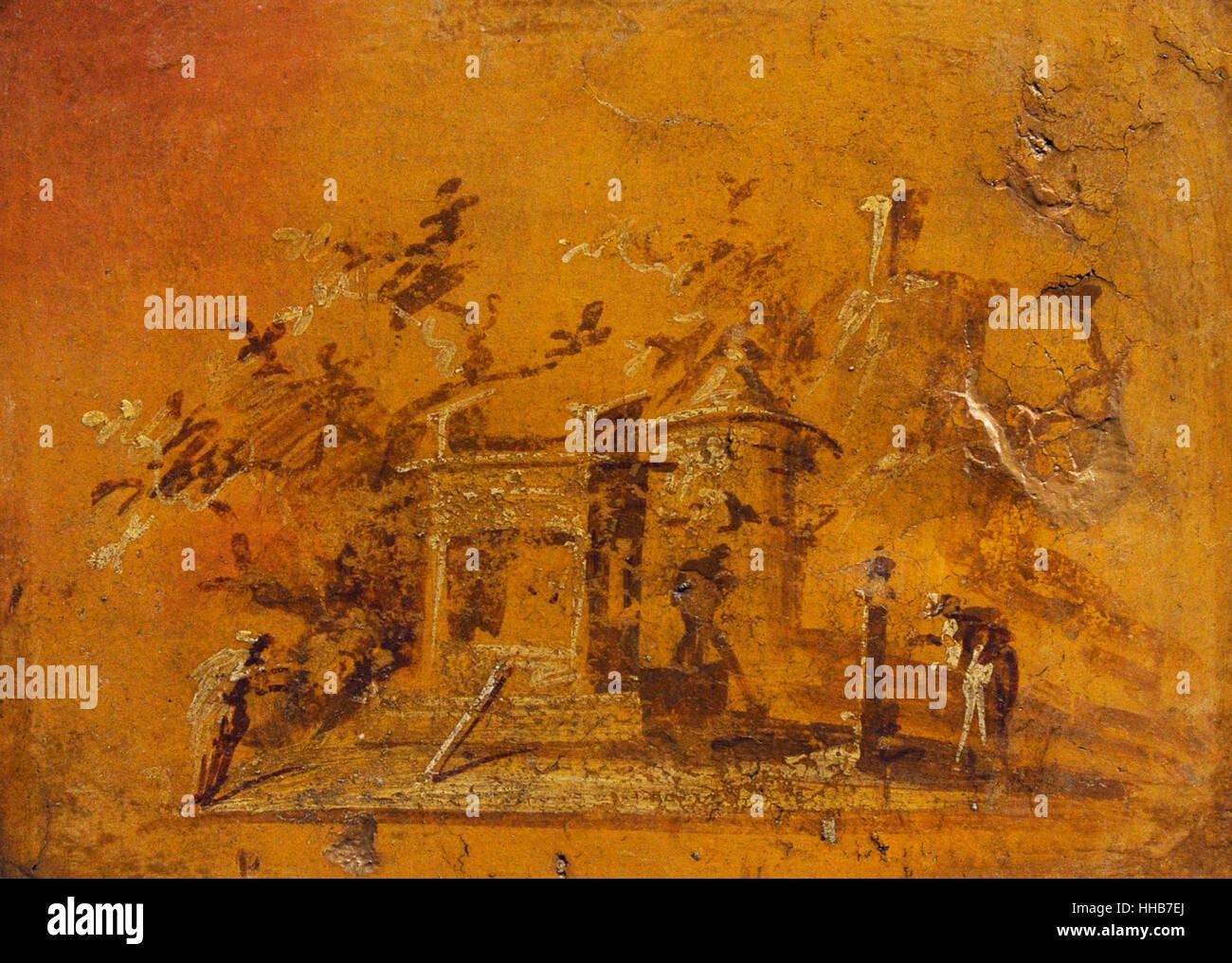 Fresque représentant un paysage monochrome. 50-79 AD. De la villa des Papyri, Herculanum. Musée Archéologique Photo Stock