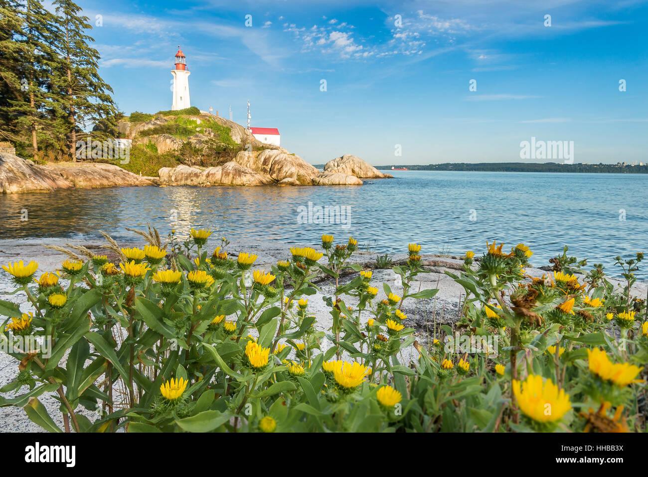 Lumière de Point Atkinson, Lighthouse Park, West Vancouver, British Columbia, Canada Photo Stock