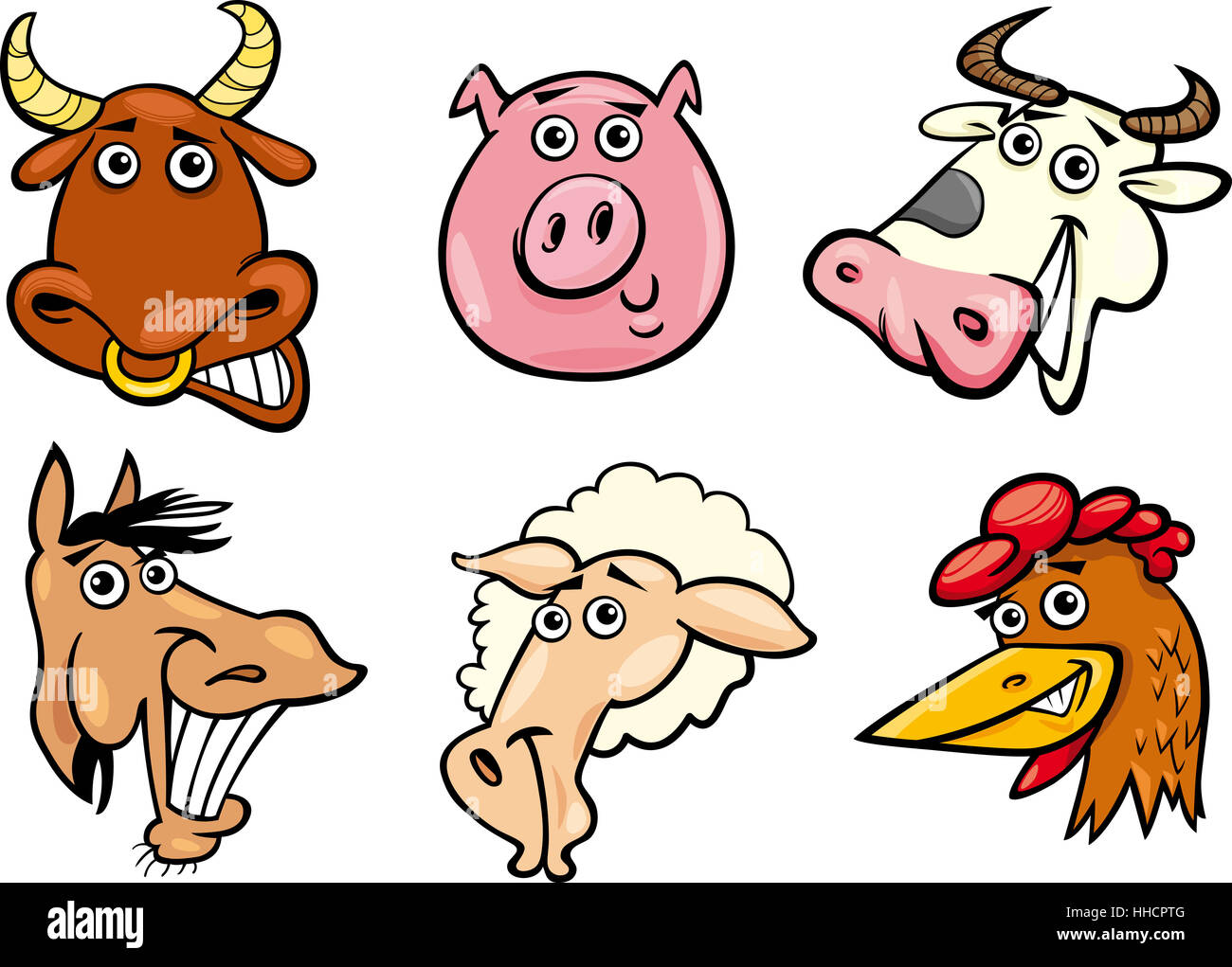 Cartoon Illustration De Différents Animaux Rigolos De La