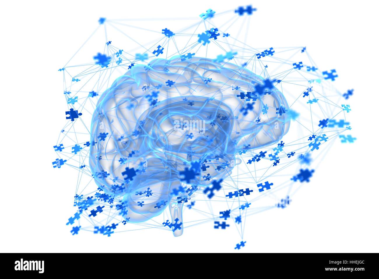 Illustration du processus de pensée dans le cerveau Photo Stock
