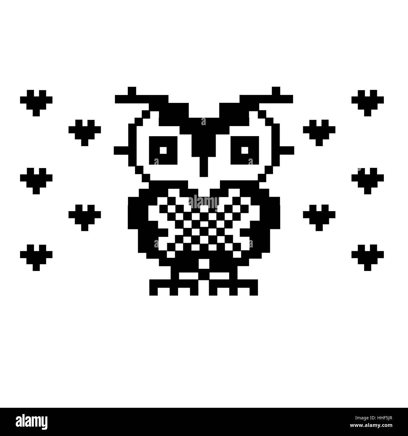 Jolie Chouette Et Coeurs Bird Pixel Art Modèle Vecteurs Et