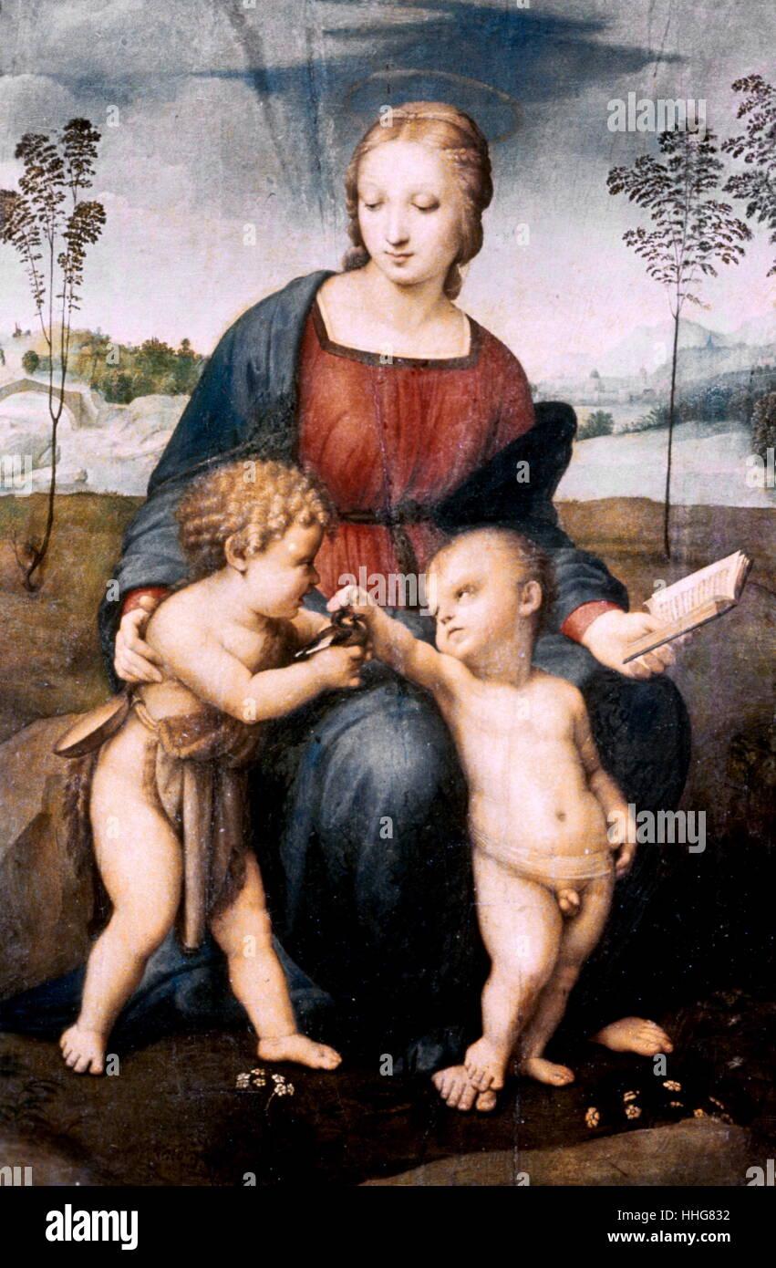 Madonna del cardellino ou Madonna de l'Chardonneret. c. 1505-1506, huile sur bois. Par la Haute Renaissance italienne Banque D'Images