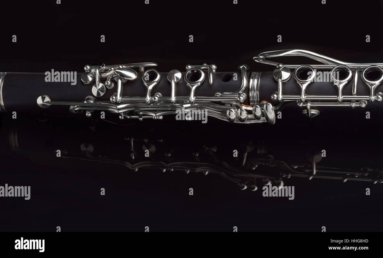 Détail de clarinette partie milieu Photo Stock