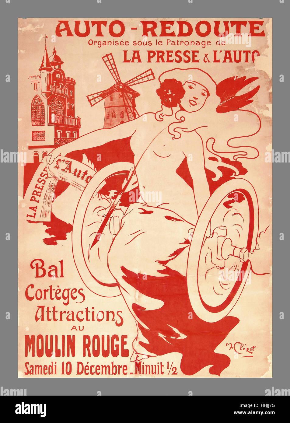 Voiture rétro Vintage Parade de danseurs et d'attractions touristiques de l'affiche du Moulin Rouge Photo Stock