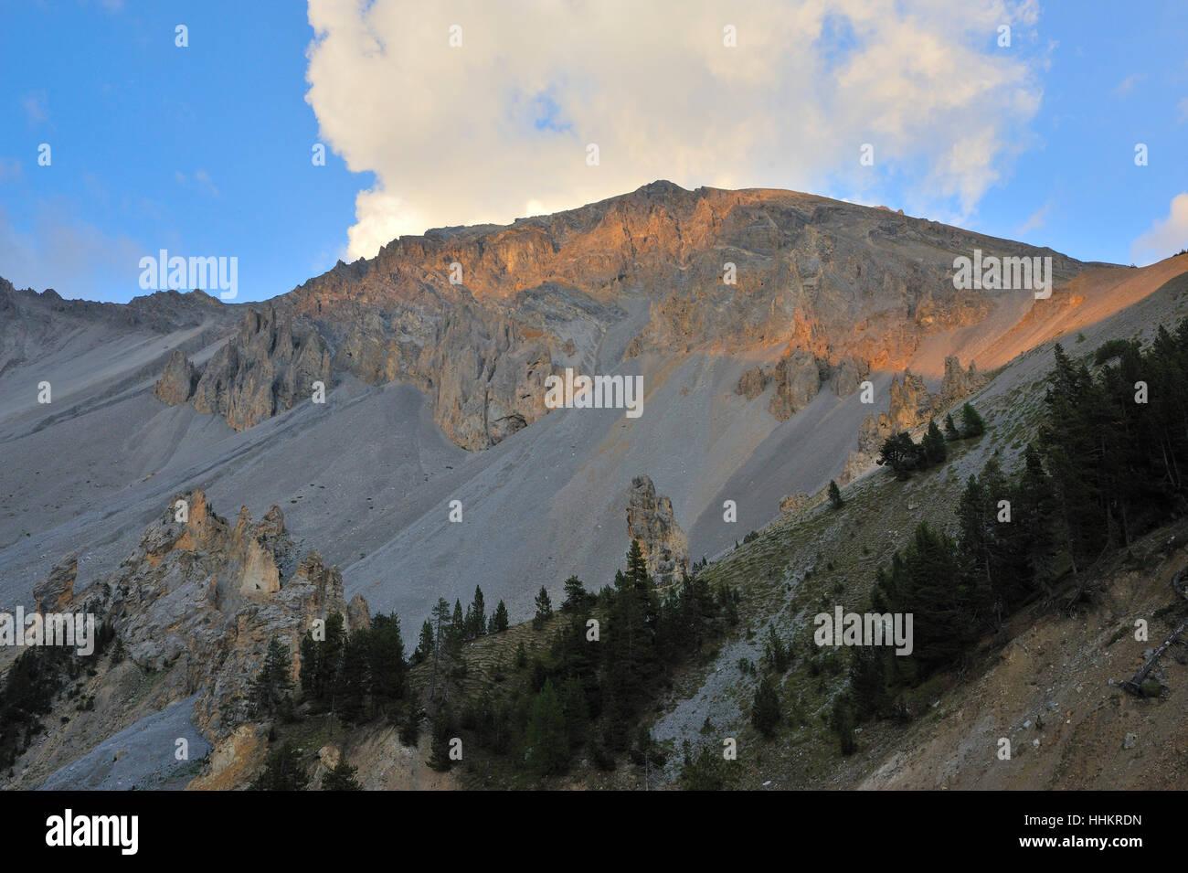 Alpes, France, l'érosion, coucher de soleil, les intempéries, les montagnes, le coucher du soleil, Photo Stock