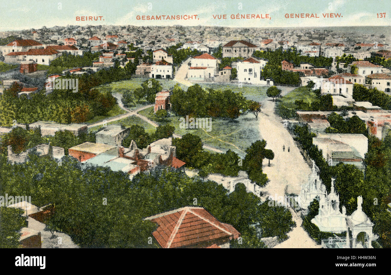 Beyrouth, Liban, carte postale du début du xxe siècle. Photo Stock